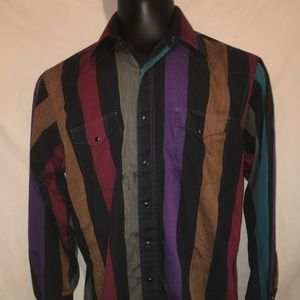 Wrangler Cowboy Cut Western Shirt Striped